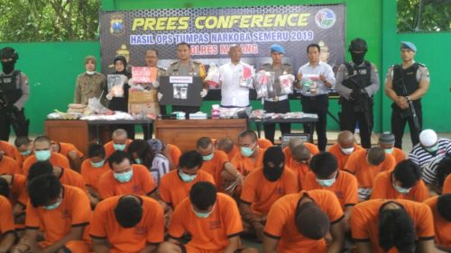 BANYAK : Puluhan orang jadi tahanan di Polres Malang. (foto Humas Polres Malang)