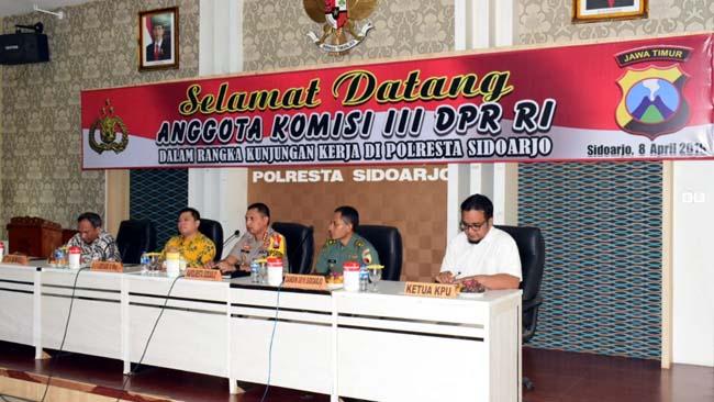 Komisi III DPR RI Pantau Kesiapan Pengamanan Pemilu 2019 di Sidoarjo