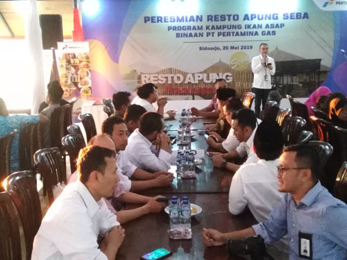 Wiko Migantoro Direktur Utama Pertagas pada peresmian Restu Apung Seba Desa Penatarsewu, Tanggulangin (gus)
