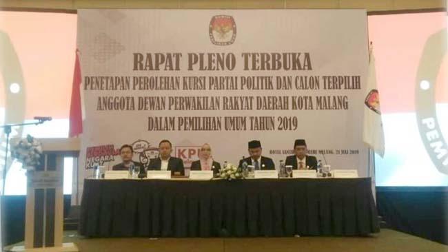 Rapat Pleno penetapan calon anggota DPRD Kota Malang. (gie)