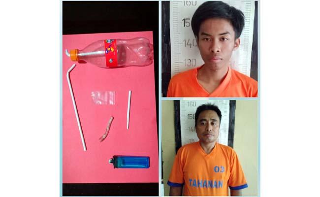 Tersangka Hassam (45) dan Moh Idris (20) saat ditangkap oleh polisi dan barang bukti