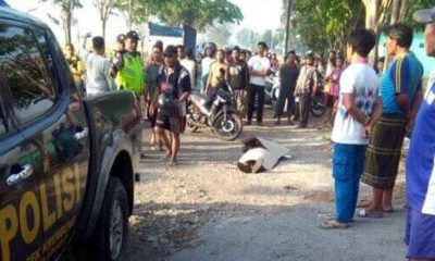 TEWAS - Pengendara motor, Sukirno (54) warga Desa/Kecamatan Tulangan, Sidoarjo tewas usai motornya tertabrak truk di JL Raya Dusun Bibis, Desa Keret, Kecamatan Krembung, Sidoarjo, Senin (30/09/2019)