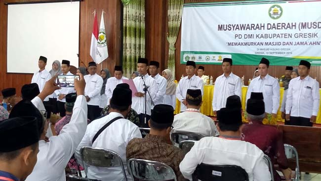 Sejumlah Remas saat Deklarasi dan rangkaian kegiatan Musyawarah Daerah (Musda) VII, Dewan Masjid Indonesia (DMI) Kabupaten Gresik, Minggu (15/9/2019)