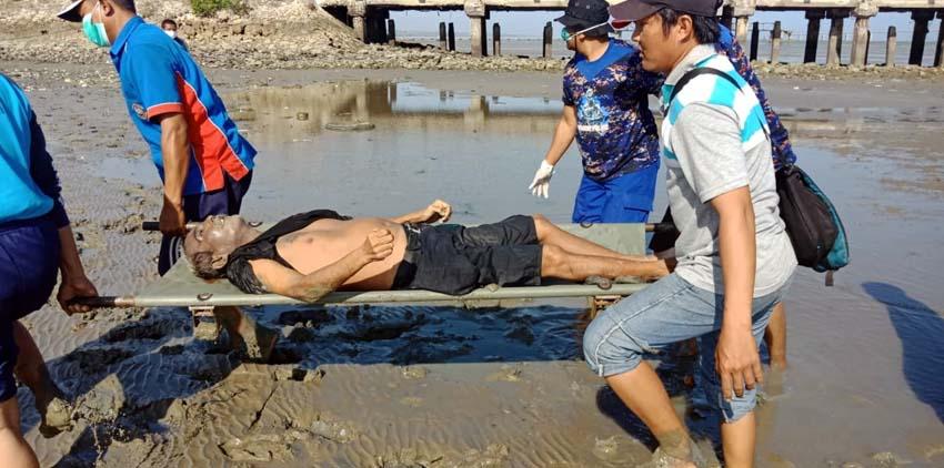 Terbujur kaku : mayat tanpa identitas ditemukan di sekitar dermaga Lanal Batu Poron, Kecamatan Kamal, Kamis (26/9/2019)