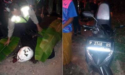 Anggota Lakalantas Polres Banyuwangi saat mengevakuasi korban kecelakaan di jalan raya Banyuwangi- Jember, Minggu (10/11/2019) malam. (ist)