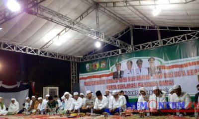 Suasana acara peringatan Maulid Nabi Muhammad dan Doa Bersama serta Deklarasi Pilkades Damai di Lapangan Wijaya Kusuma, Senin (18/11/2019) malam. (zyn)