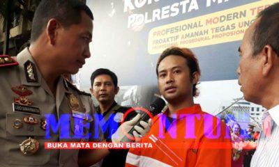 Tersangka Septian alias Acil saat dirilis di Polresta Malang Kota. (gie)