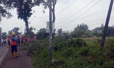 sejumlah petugas PLN melakukan perbaikan di jalan raya Tangkel