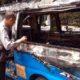 Kondisi Angkot usai kebakaran. (ist)