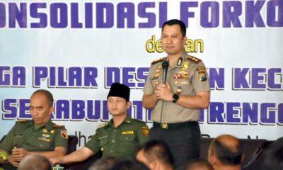 Kapolres Trenggalek bersama Bupati dan Dandim 0806 Trenggalek dalam kegiatan Konsolidasi 3 pilar di Pendapa. (ist)