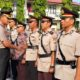 SERTIJAB : Upacara serah terima jabatan pejabat utama Polres Situbondo. (imam)
