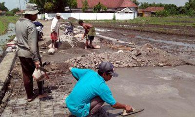 Warga mengeraskan ujung jalan Dusun Kramat dengan pengecoran . (par)