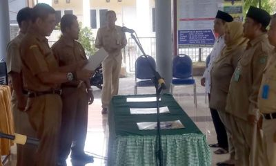 Pj Kades Sukolegok Sgit Pratikno melantik 3 perangkat Desa disaksikan Camat Sukodono Ainun Amalia. S.Sos. (ari)