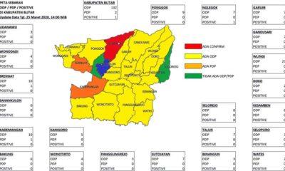 Data sebaran ODP, PDP, Positif Covid-19 di Kabupaten Blitar
