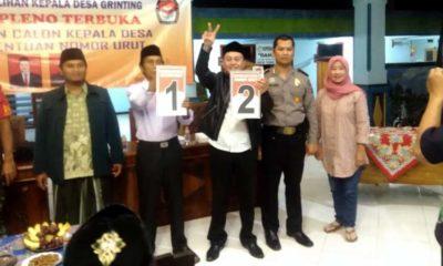 Panitia Pilkades melakukan tahapan pengundian nomor urut bakal calon Kades bertempat di balai Desa Grinting, Kecamatan Tulangan. (ari)