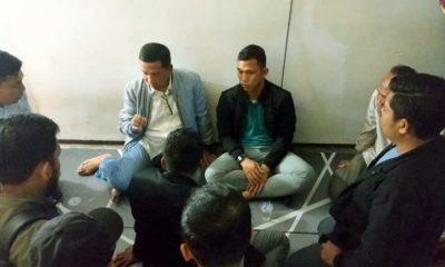 Kapolresta Malang Kota Kombes Pol dr Leonardus bersama Dandim 0833 Letkol Inf Tommy Anderson saat bersilaturrahim bersama HMI Korkom Unmer. (ist)