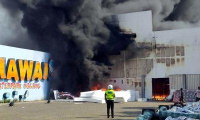 Kondisi studio saat terbakar. (ist)
