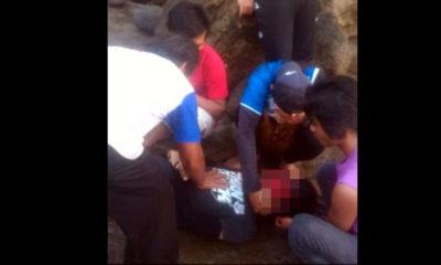 Jasad korban saat ditemukan sudah tidak bernyawa di tepi pantai Nanggelan. (ist)