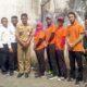Karyawan difabel Disnaker Kabupaten Malang (tengah) bersama penyandang disabilitas yang difasilitasi Disnaker Kabupaten Malang