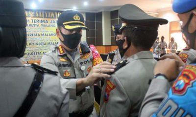 Serah terima Jabatan Kasat Lantas, Kasat Reskoba, Kasat Binmas dan Kabag Sunda Polresta Malang Kota. (ist)