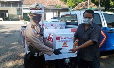 HUT Polri, Satlantas Polres Pasuruan Tebar 100 Paket Sembako