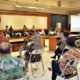 Bupati Gresik Sambari saat Rapat merancang persiapan New Normal Life dengan Penegakan Protokol Kesehatan (PPK) bersama Forkopimda yang berlangsung di Ruang Mandala Bakti Praja pada Jum'at (5/6/2020) kemarin
