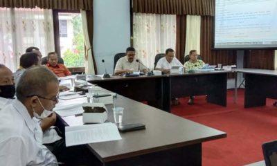 RAPAT KERJA : Rapat kerja Pansus 1 DPRD Trenggalek di ruang Banmus kantor DPRD Trenggalek