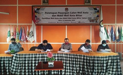 Rapat pleno tertutup penetapan pasangan calon Wali Kota dan Wakil Wali Kota Blitar dalam Pilwali dan Wawali Kota Blitar Tahun 2020.