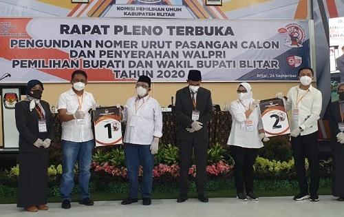 Pengundian nomor urut paslon Bupati dan wakil Bupati Blitar Pemilihan Bupati dan Wakil Bupati Blitar Tahun 2020.