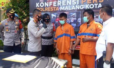 Kapolresta Malang Kota Kombes Pol Dr Leonardus dan Kapolsekta Lowokwaru Kompol Rizky saat merilis tersangka Maskur dan Jirot. (gie)