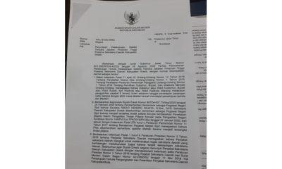 Ket foto : Surat dari Kementerian Dalam Negeri berisikan penundaan pelaksanaan seleksi terbuka jabatan pimpinan tertinggi pratama Sekretaris Daerah (Sekda) Kabupaten Gresik.