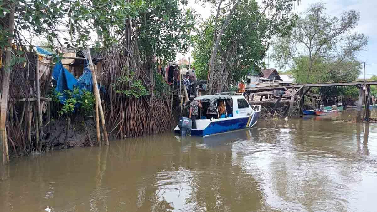 DERMAGA - Salah satu dermaga menuju Dusun Kepetingan, Desa Sawohan, Kecamatan Buduran dan Dusun Pucukan yang bakal dibangun untuk pengembangan wisata pesisir timur Sidoarjo.