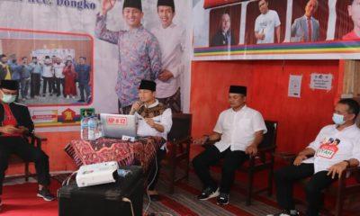 KAMPANYE VIRTUAL : Calon Bupati Nomor Urut 2, Mochamad Nur Arifin saat melakukan kampanye virtual di Kecamatan Dongko.