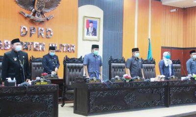 Rapat Paripurna DPRD Kabupaten Blitar dengan agenda penyampaian Bupati Blitar terhadap Nota Keuangan Rancangan APBD Kabupaten Blitar TA 2021.