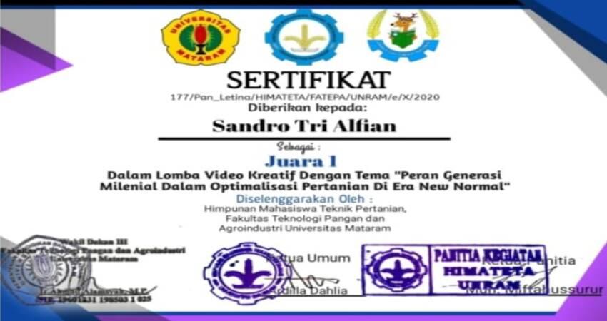 Sertifikat mahasiswa Polinema atas nama Sandro Tri Alfian.