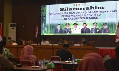 Rapat terbatas antara Pemkab Jember bersama sejumlah tokoh agama Kabupaten Jember di Pendapa Wahyawibawagraha.